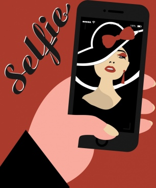 selfie banner woman picture smartphone screen icons