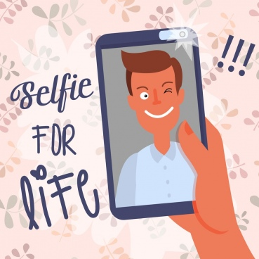 selfie camera advertising man icon phone screen design