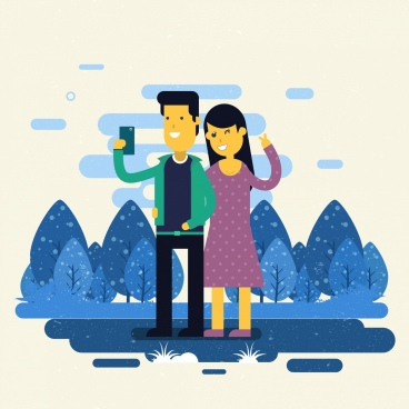 selfie drawing happy couple icon colored cartoon