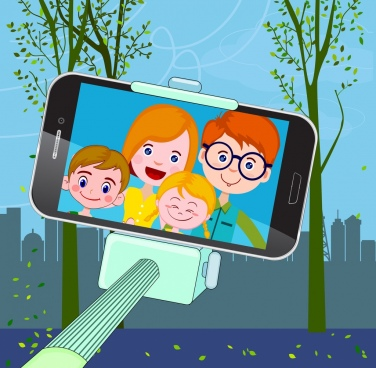selfie drawing smartphone screen human faces icon