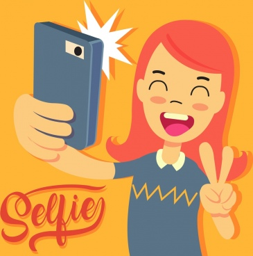 selfie drawing young girl smartphone icons