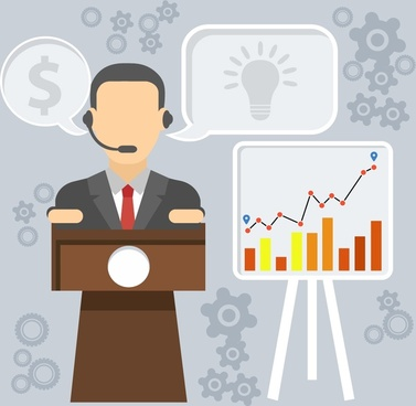 seminar lecturer illustration with business symbol icons