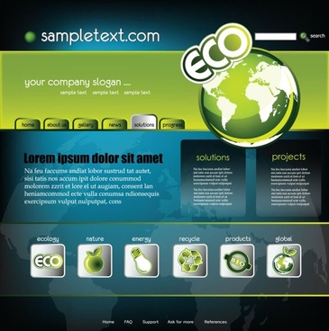 sense of technology website template 02 vector