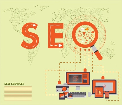 seo services concept vector illustration with magnifier and devices