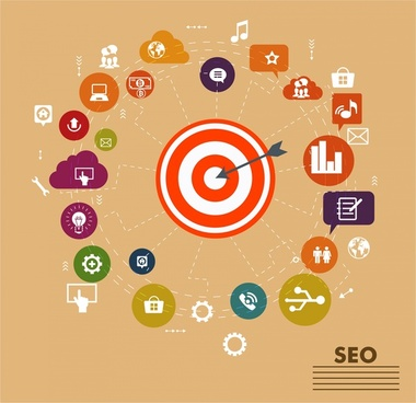 seo services infographics design with aim and icons