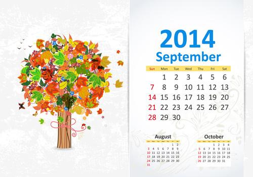september14 calendar vector