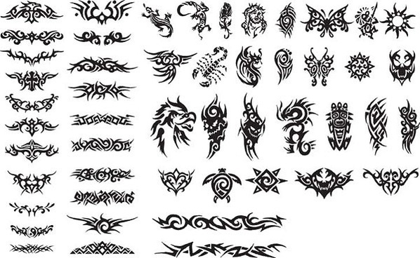 series of black and white design elements vector 15 totem