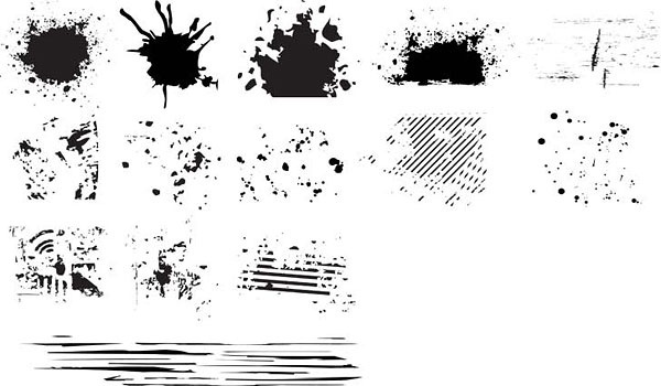 grunge ink marks icons collection black white design