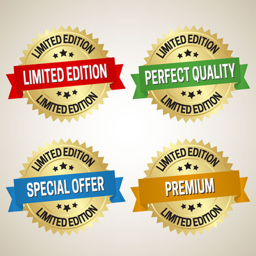 serrated yellow icons sets of sales promotion