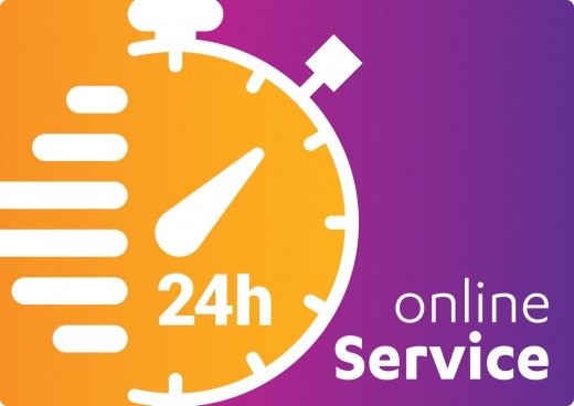 service and support for customers 24 hours a day and 7 days a week icon open around the vector clock