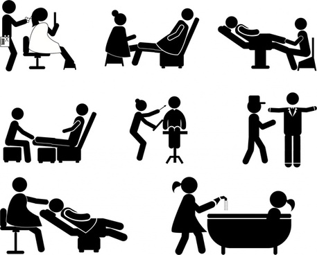 service jobs icons illustration with silhouette style
