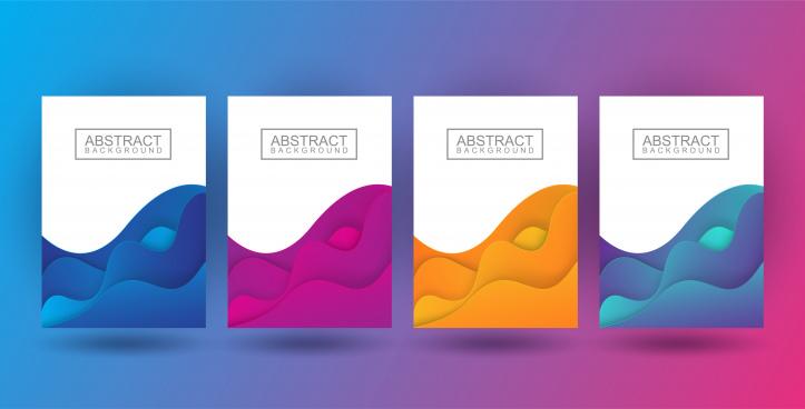 set dynamic colorful poster fluid liquid shape brochure pastel color in wavy and gradient design illustration vector
