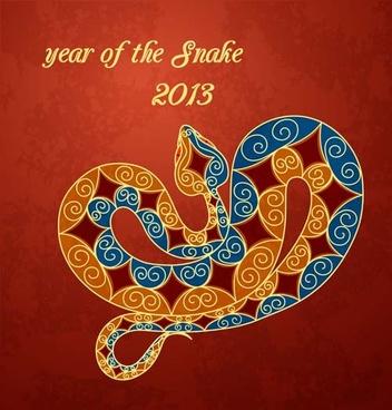 set of13 year of snake design vector