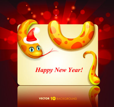 set of13 year snake card vector backgrounds