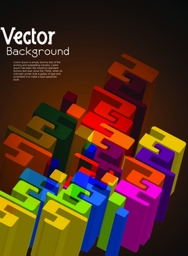 set of 3d concept vector background