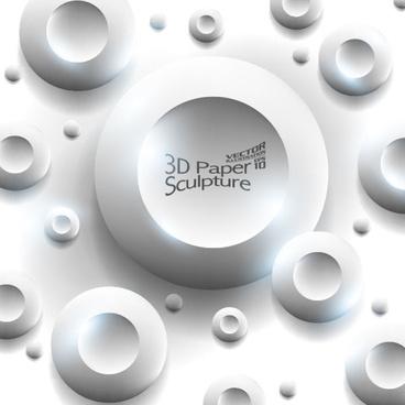 set of 3d paper sculpture background vector