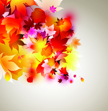 set of abstract autumn leave design elements vector