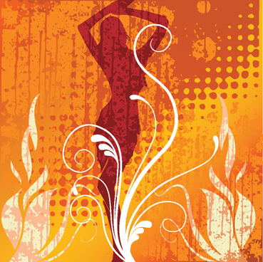 set of abstract fire vector background