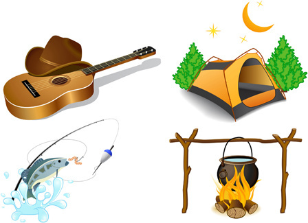 set of active recreation elements vector