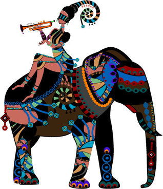 set of african girl design vector