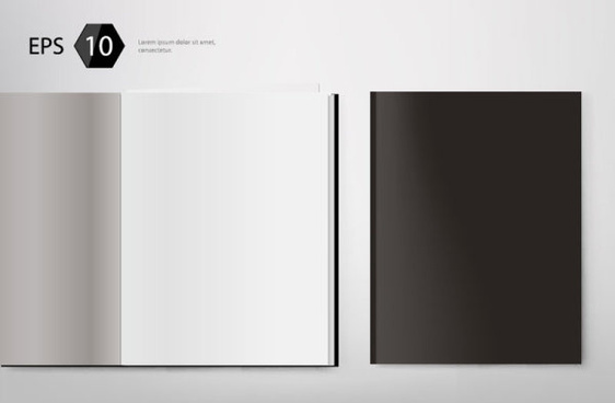 set of album and magazine template blank page vector