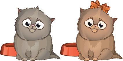 set of amusing animals elements vector