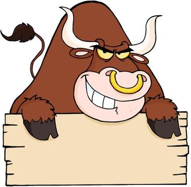 set of angry bulls design vector