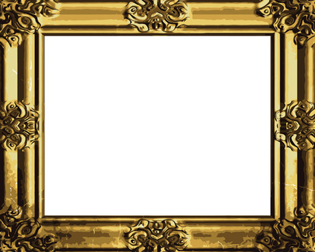 set of antique gold photo frame elements vector