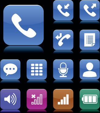 set of aqua style icon vector