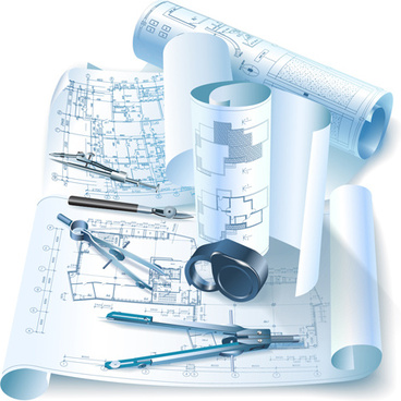 set of architectural drawings design vector
