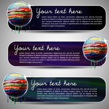 set of art banner for website vector