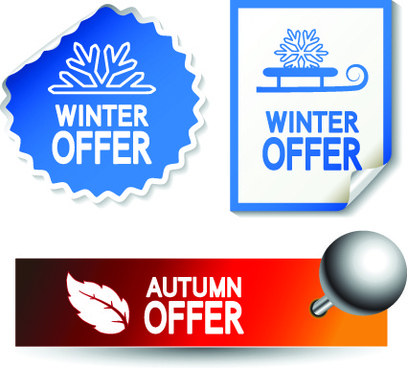 set of autumn and winter offer stickers design vector