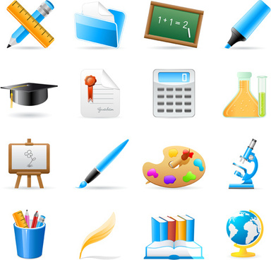 set of back to school elements icon vector