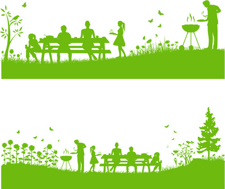 set of barbecue design vector
