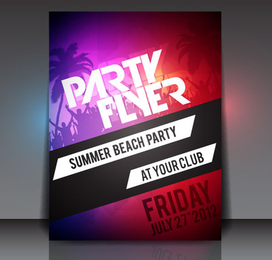 set of beach party flyer vector