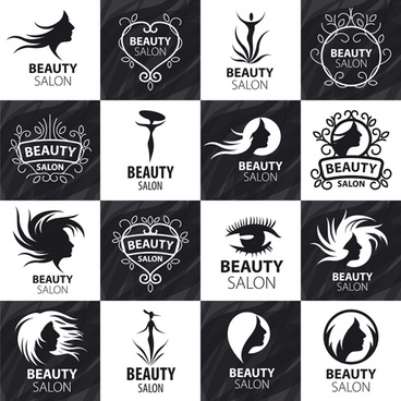 set of beauty salon logos creative vector