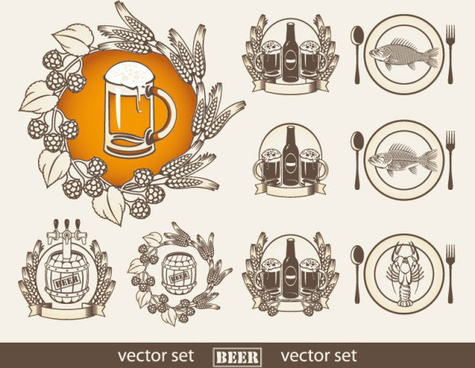 set of beer elements label vector graphic