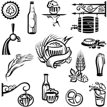 set of beer elements label vector graphic