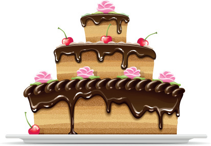 set of birthday cake vector