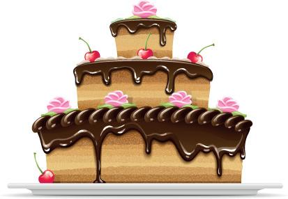 set of birthday cake vector