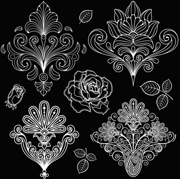 set of black and white paisley pattern vector graphics