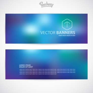 set of blue business banners