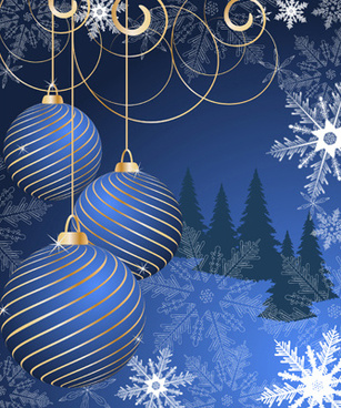 set of blue charm christmas cards vector