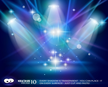 set of blue spotlights background vector