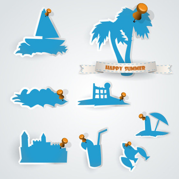 set of blue sticker design vector graphic
