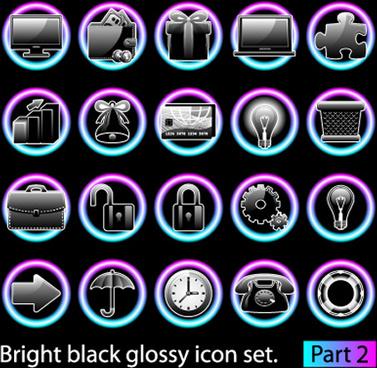 set of bright black glossy icon vector