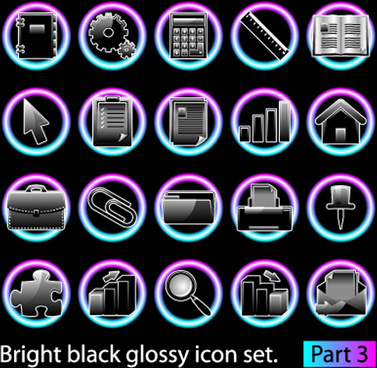 set of bright black glossy icon vector