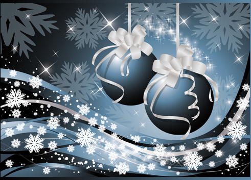 set of bright christmas card elements vector