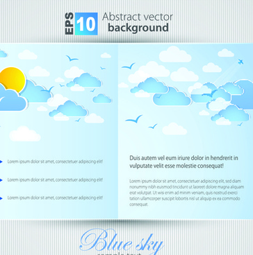 set of brochure page two weather background vector