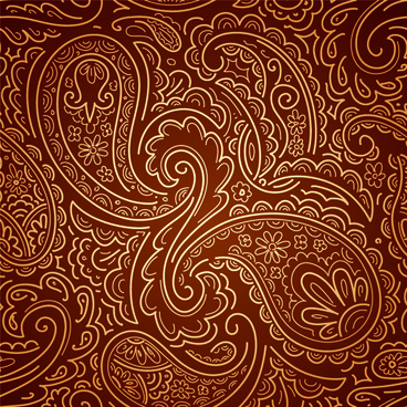 set of brown paisley patterns vector
